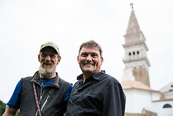 After two months of restoration, the Statue of Archangel Michael, made of copper plate, returned to Piran. Robert Grilc-Cevap with Zorko Bajc (priest of Piran) after succesful mission with helicopter placing the Statue of Archangel Michael on top of the church's clock, on October 15, 2018 in Piran, Slovenia. Photo by Matic Klansek Velej / Sportida