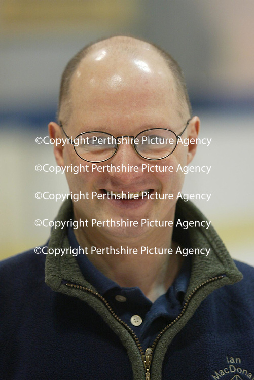 Derek Brown, team coach of the Scottish Curling team pictured during a training session at the Dewars Ice Arena in Perth.<br /><br />Picture by Graeme Hart.<br />Copyright Perthshire Picture Agency<br />Tel: 01738 623350  Mobile: 07990 594431