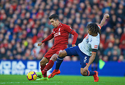 LIVERPOOL, ENGLAND - Saturday, February 9, 2019: Liverpool's Roberto Firmino (L) and AFC Bournemouth's Nathan Ake during the FA Premier League match between Liverpool FC and AFC Bournemouth at Anfield. (Pic by David Rawcliffe/Propaganda)
