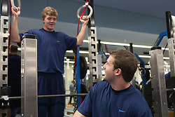 27 November 2007: North Carolina Tar Heels men's lacrosse Fletcher Gregory (L) and Jack Ryan during a weight lifting session in Chapel Hill, NC.