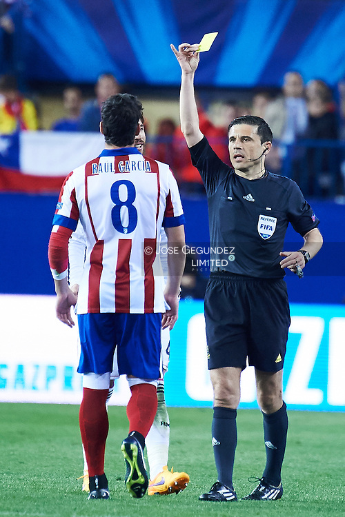 Raul Garcia in action during the Champions League, round of 4 match between Atletico de Madrid and Real Madrid at Estadio Vicente Calderon on April 14, 2015 in Madrid, Spain