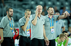 Stefanos Dedas, assistant coach of Slovenia, Gasper Potocnik,  assistant coach of Slovenia, Jure Zdovc, head coach of Slovenia and Rado Trifunovic, assistant coach of Slovenia during basketball match between Slovenia and Georgia at Day 2 in Group C of FIBA Europe Eurobasket 2015, on September 6, 2015, in Arena Zagreb, Croatia. Photo by Vid Ponikvar / Sportida