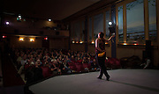 A local resident sings during a Vaudeville Show at the 100-year-old Patricia Theatre in Powell River, BC. (2013)