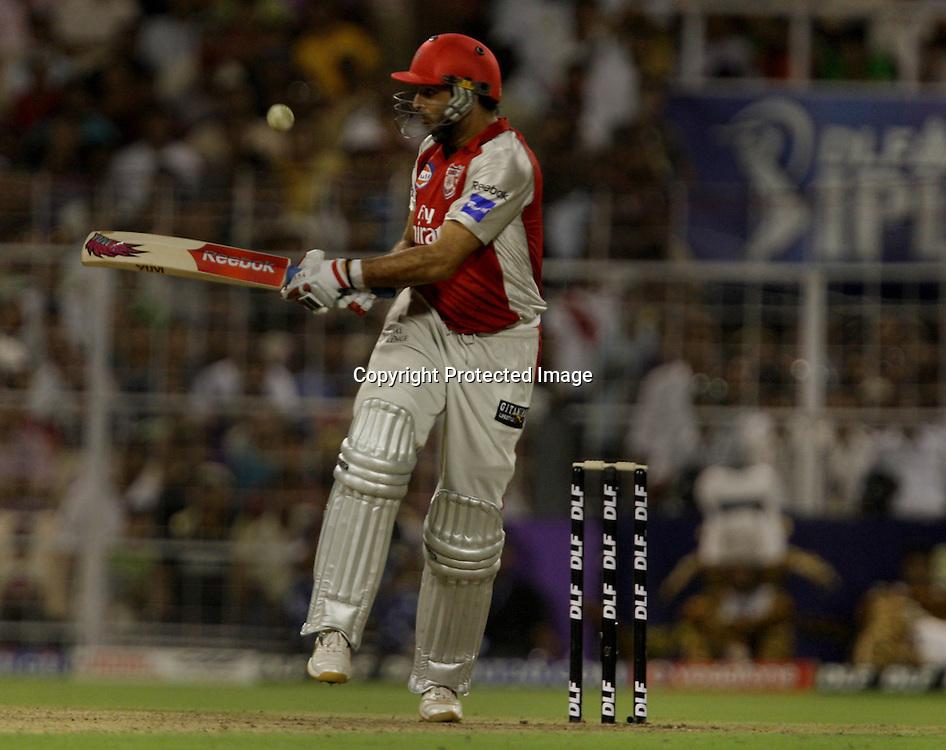 Kings XI Punjab Batsman Yunraj Singh Hit The Shot Against Kolkata Knight Riders During The Kolkata Knight Riders vs Kings XI Punjab 34th match Twenty20 match | 2009/10 season Played at Eden Gardens, Kolkata <br />4 April 2010 - day/night (20-over match)