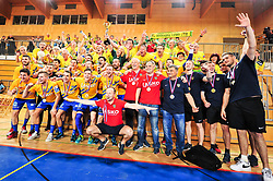 Team of RK Celje Pivovarna Lasko with fans after handball match between RK Krka and RK Celje Pivovarna Lasko in the Final of Slovenian Men Handball Cup 2018, on April 22, 2018 in Sportna dvorana Ljutomer , Ljutomer, Slovenia. Photo by Mario Horvat / Sportida