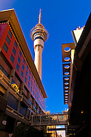 The Sky City entertainment complex with the Sky Tower (tallest free-standing structure in the Southern Hemisphere) above, Central Business District, Auckland, New Zealand