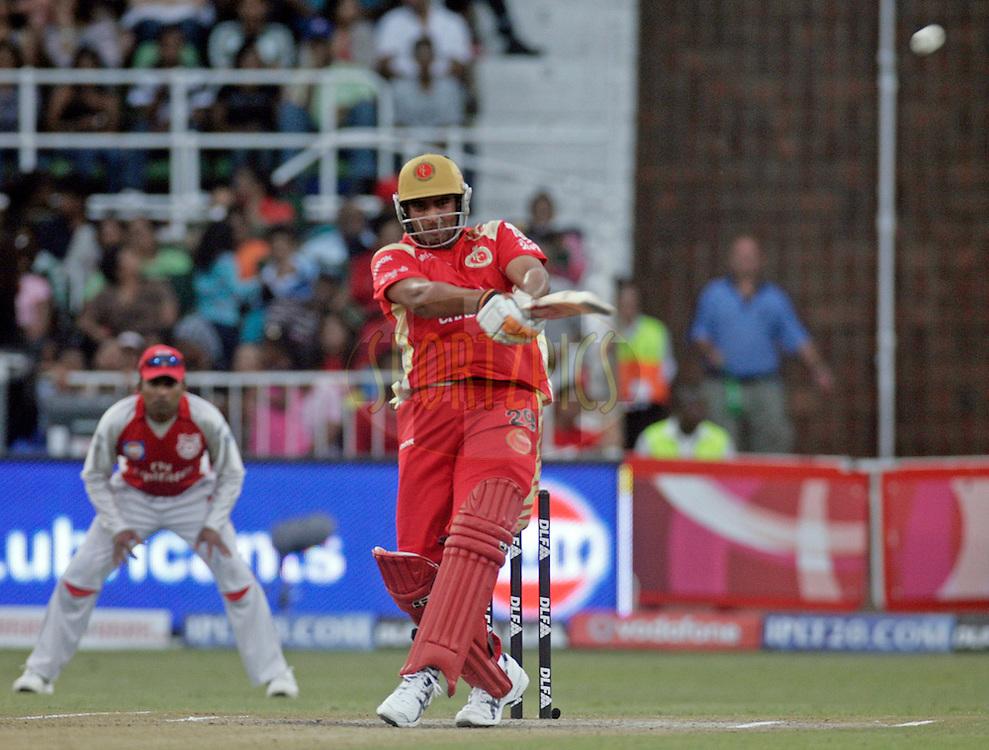 DURBAN, SOUTH AFRICA - 1 May 2009. Rajesh Bishnoi plays a shot during the IPL Season 2 match between Kings X1 Punjab and the Royal Challengers Bangalore held at Sahara Stadium Kingsmead, Durban, South Africa..