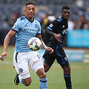 NEW YORK, NEW YORK - April 12: Khiry Shelton #19 of New York City FC  in action during the New York City FC Vs San Jose Earthquakes regular season MLS game at Yankee Stadium on April 1, 2017 in New York City. (Photo by Tim Clayton/Corbis via Getty Images)