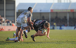 Sam Hill of Exeter Chiefs goes over for a try.  - Mandatory byline: Alex Davidson/JMP - 12/03/2016 - RUGBY - Sandy Park -Exeter Chiefs,England - Exeter Chiefs v Newcastle Falcons - Aviva Premiership