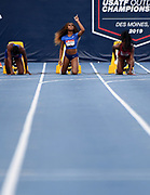 Jul 25, 2019; Des Moines, IA, USA; Sha'Carri Richardson gestures before the start of a women's 100m heat during the USATF Championships at Drake Stadium.