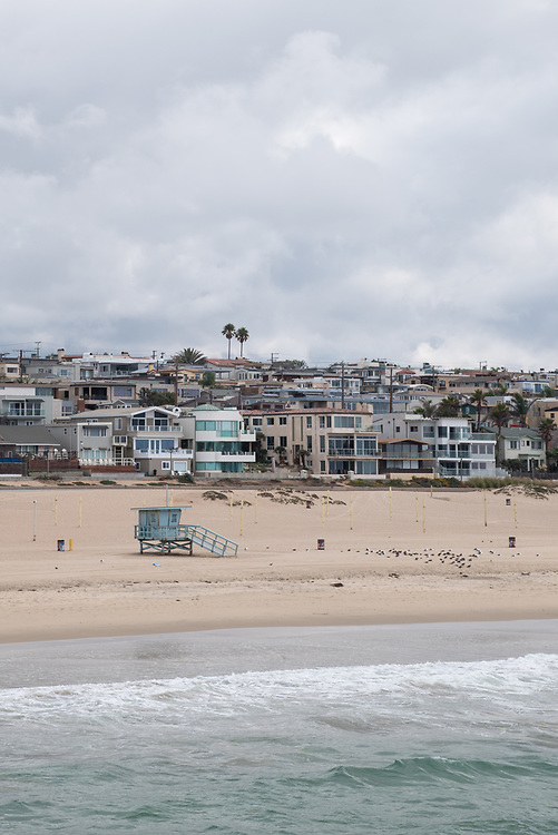 Photo Manhattan Beach landscape wall art. View from the Pier,ocean waves, strand, cloudy sky, palm trees. Southbay, Southern California beach landscape. Matted print, limited edition. Fine art photography print.