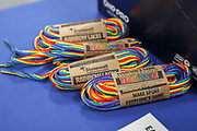 Rainbow laces in AFC Wimbledon changing room during the EFL Sky Bet League 1 match between AFC Wimbledon and Gillingham at the Cherry Red Records Stadium, Kingston, England on 23 November 2019.