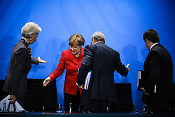 """(from L to R) International Monetary Fund (IMF) Managing Director Christine Lagarde, German Chancellor Angela Merkel, Angel Gurria, general secretary of the Organisation for Economic Cooperation and Development and Guy Ryder, general secretary of the World Labour Organisation attend a joint press conference in Berlin, Germany, on April 5, 2016. Leaders of several international economic organizations called on governments to take """"decisive action"""" to strengthen reforms and boost growth at a meeting hosted by German Chancellor Angela Merkel in Berlin on Tuesday. EXPA Pictures © 2016, PhotoCredit: EXPA/ Photoshot/ Zhang Fan<br /> <br /> *****ATTENTION - for AUT, SLO, CRO, SRB, BIH, MAZ, SUI only*****"""