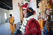 18 MAY 2008 -- MARICOPA, AZ: Hindu holy men process into the temple during the dedication of the new Hindu temple in Maricopa, AZ, Sunday. More than 3,000 Hindus from Arizona, southern California and New Mexico came to Maricopa, AZ, a small town in the desert about 50 miles south of Phoenix, for the dedication of the Maha Ganapati Temple of Arizona. It is the first Hindu temple in Arizona designed according to ancient South Indian Hindu architectural guides. Craftsmen from India came to Maricopa to complete the interior details of the temple. The dedication ceremonies lasted three days.   Photo by Jack Kurtz / ZUMA Press