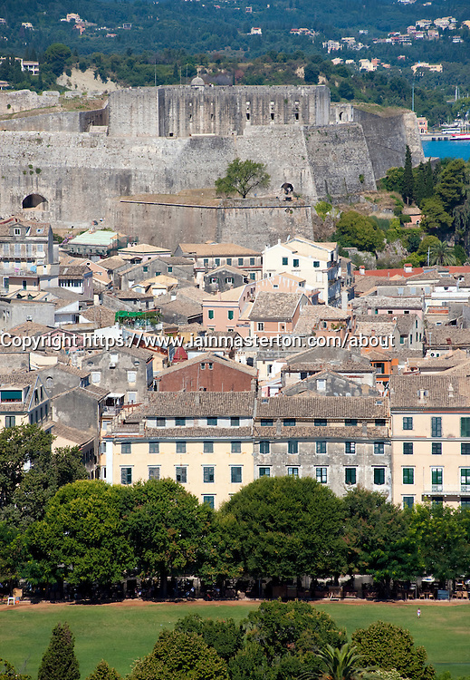 View over the historic town of Kerkyra towards the new castle on Corfu Island in Greece