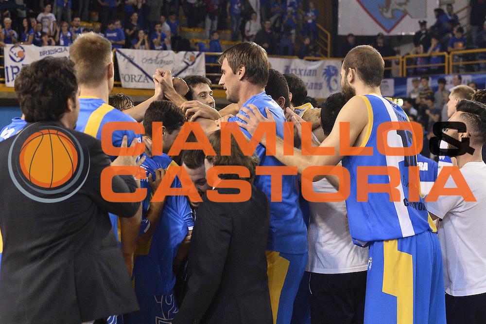 esultanza Betaland Capo D'Orlando<br /> Germani Basket Brescia - Betaland Capo D'Orlando<br /> LegaBasket 2016/2017<br /> Brescia 05/11/2016<br /> Foto Ciamillo-Castoria