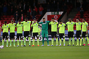 A minute silence for Shoreham air crash victims during the Capital One Cup match between Walsall and Brighton and Hove Albion at the Banks's Stadium, Walsall, England on 25 August 2015.