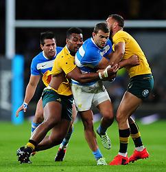Ramiro Moyano of Argentina takes on the Australia defence - Mandatory byline: Patrick Khachfe/JMP - 07966 386802 - 08/10/2016 - RUGBY UNION - Twickenham Stadium - London, England - Argentina v Australia - The Rugby Championship.