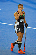 Charlotte Stapenhorst of Germany (12) fist pumps after Germany win the match during the Vitality Hockey Women's World Cup 2018 Pool C match between Germany and Argentina at the Lee Valley Hockey and Tennis Centre, QE Olympic Park, United Kingdom on 25 July 2018. Picture by Martin Cole.