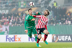 08.12.2016, Weststadion, Wien, AUT, UEFA EL, SK Rapid Wien vs Athletic Club Bilbao, Gruppe F, im Bild Matej Jelic (SK Rapid Wien), Yeray Alvarez (Athletic Club Bilbao) // during a UEFA Europa League, group F game between SK Rapid Wien and Athletic Club Bilbao at the Weststadion, Vienna, Austria on 2016/12/08. EXPA Pictures © 2016, PhotoCredit: EXPA/ Sebastian Pucher