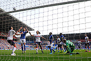 Josh Murphy (11) of Cardiff City heads his shot at goal over the bar during the EFL Sky Bet Championship match between Cardiff City and Middlesbrough at the Cardiff City Stadium, Cardiff, Wales on 21 September 2019.