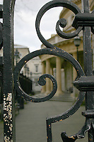 Detail of railing at the National Museum of Ireland, Kildare Street, Dublin, Ireland