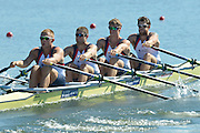 Varese,  ITALY. 2012 FISA European Championships, Lake Varese Regatta Course. ..GBR M4X. Bow Dan RITCHIE, Nicolas MIDDLTON, Jon WALTON, John COLLINS, at the start of their heat of the Men's Quadruple Sculls ..{TIME  {DOW}  14/09/2012.....[Mandatory Credit Peter Spurrier:  Intersport Images]  ..2012 European Rowing Championships ..Rowing, European,  2012 010761.jpg....