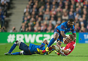 Milton Keynes, Great Britain,    Mathieu BASTAREAUD and Thierry DUSAUTOIR combine to bring Matt EVANS. down   during the Pool D Game, France vs Canada.  2015 Rugby World Cup, Venue, StadiumMK, Milton Keynes, ENGLAND.  Thursday  01/10/2015<br /> Mandatory Credit; Peter Spurrier/Intersport-images]