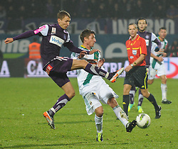 23.10.2011, Generali Arena, Wien, AUT, 1. FBL, Wiener Derby FK Austria Wien vs SK Rapid Wien, im Bild Zweikampf zwischen Florian Klein, (FK Austria Wien, #7) und Boris Prokopic, (SK Rapid Wien, #16) // during the vienna derby FK Austria Wien vs SK Rapid Wien, Generali Arena, Vienna, 2011-10-23, EXPA Pictures © 2011, PhotoCredit: EXPA/ M. Gruber