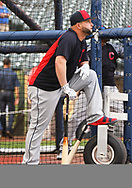 May 8, 2018 - Milwaukee, WI, U.S. - MILWAUKEE, WI - MAY 08: Cleveland Indians First base Yonder Alonso (17) waiting to take BP before a MLB game between the Milwaukee Brewers and Cleveland Indians on May 8, 2018 at Miller Park in Milwaukee, WI. The Brewers defeated the Indians 3-2.(Photo by Nick Wosika/Icon Sportswire) (Credit Image: © Nick Wosika/Icon SMI via ZUMA Press)