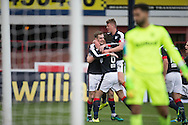 Dundee&rsquo;s Kevin Holt is congratulated by Darren O&rsquo;Dea and Mark O&rsquo;Hara after doubling the Dark Blues' lead - Dundee v Rangers in the Ladbrokes Scottish Premiership at Dens Park, Dundee.Photo: David Young<br /> <br />  - &copy; David Young - www.davidyoungphoto.co.uk - email: davidyoungphoto@gmail.com