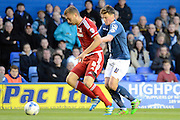 Middlesbrough defender Ben Gibson holds of Birmingham City midfielder Stephen Gleeson during the Sky Bet Championship match between Birmingham City and Middlesbrough at St Andrews, Birmingham, England on 29 April 2016. Photo by Alan Franklin.