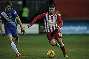 Adam Buxton (Accrington Stanley) runs with the ball during the Sky Bet League 2 match between Accrington Stanley and Hartlepool United at the Fraser Eagle Stadium, Accrington, England on 19 January 2016. Photo by Mark P Doherty.