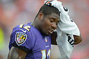 Baltimore Ravens wide receiver Jacoby Jones (12) with his helmet off during a preseason NFL game at Raymond James Stadium on Aug. 8, 2013 in Tampa, Florida. <br /> <br /> &copy;2013 Scott A. Miller