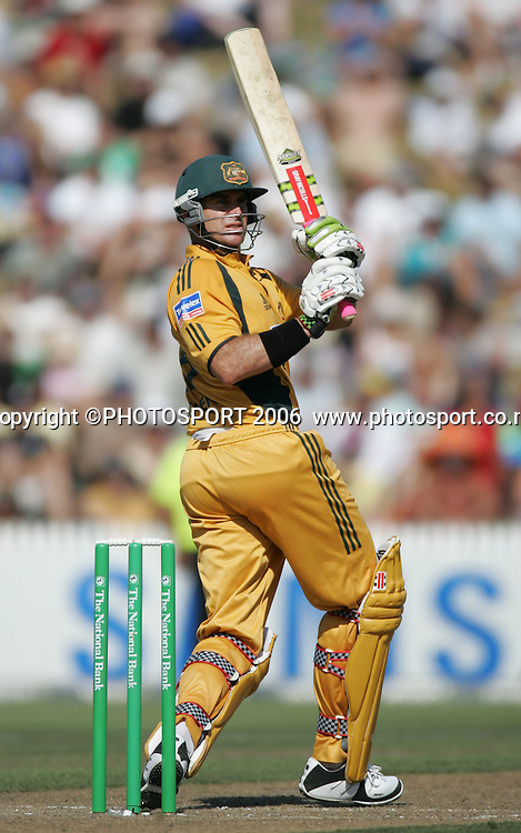 Australian batsman Matthew Hayden hits out during the 3rd Chappell Hadlee one day match at Seddon Park, Hamilton, New Zealand on Tuesday 20 February 2007. Photo: Andrew Cornaga/PHOTOSPORT<br /><br /><br />200207