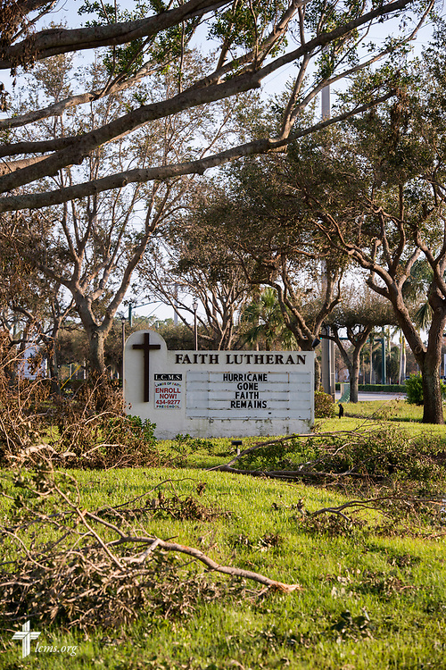 The sign at Faith Lutheran Church, Naples, Fla., amongst fallen tree debris following Hurricane Irma on Wednesday, Sept. 13, 2017. LCMS Communications/Erik M. Lunsford