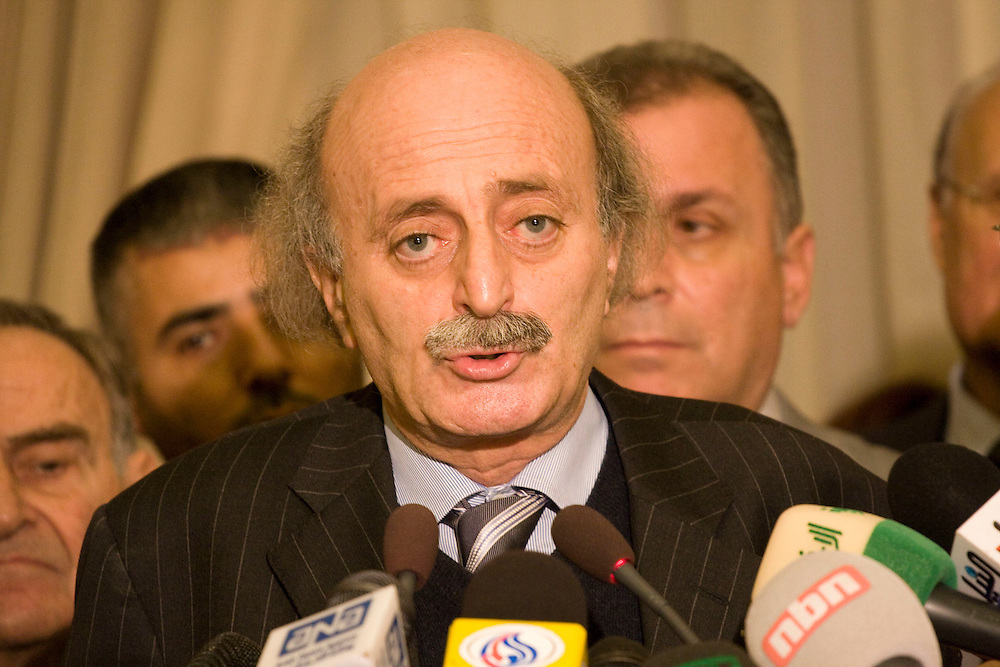 Leader of the Progressive Socialist Party and the Druze community, Walid Jumblatt speaks at a press conference announcing the Lebanese presidential elections will again be postponed.