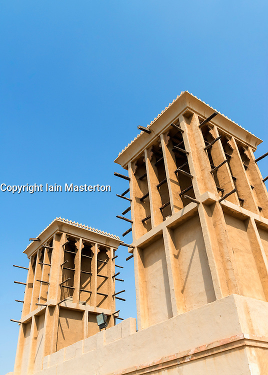 Wind towers at Heritage Village at Al Shindagha in old Dubai United Arab Emirates
