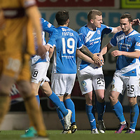 St Johnstone v MotherwellÖ17.12.16     McDiarmid Park    SPFL<br /> Chris Kane celebrates his goal with Brian Easton<br /> Picture by Graeme Hart.<br /> Copyright Perthshire Picture Agency<br /> Tel: 01738 623350  Mobile: 07990 594431
