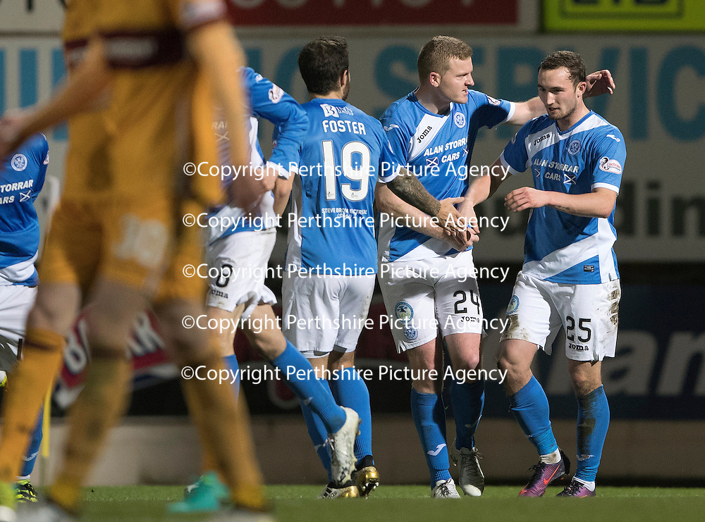 St Johnstone v Motherwell&Ouml;17.12.16     McDiarmid Park    SPFL<br /> Chris Kane celebrates his goal with Brian Easton<br /> Picture by Graeme Hart.<br /> Copyright Perthshire Picture Agency<br /> Tel: 01738 623350  Mobile: 07990 594431