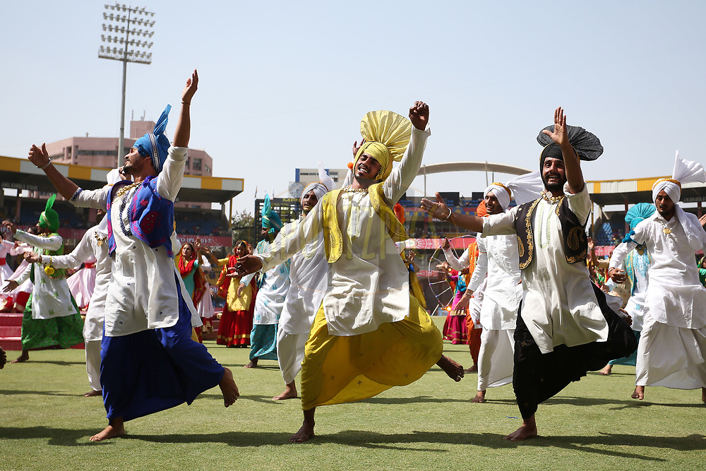 Dancers perform during the opening ceremony before match 4 of the Vivo 2017 Indian Premier League between the Kings XI Punjab and the Rising Pune Supergiant held at the Holkar Cricket Stadium in Indore, India on the 8th April 2017<br /> <br /> Photo by Shaun Roy - IPL - Sportzpics
