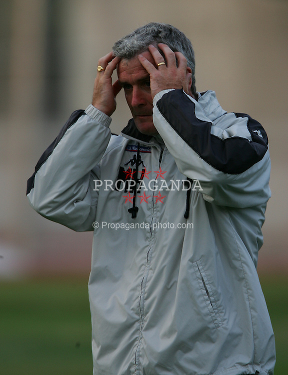 RIGA, LATVIA - TUESDAY AUGUST 17 2004: Wales' manager Mark Hughes during training at the Daugava Stadium ahead of their friendly match against Latvia in Riga. (Photo by David Rawcliffe/Propaganda)