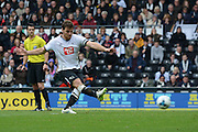 Derby County striker Chris Martin misses a penalty during the Sky Bet Championship match between Derby County and Wolverhampton Wanderers at the iPro Stadium, Derby, England on 18 October 2015. Photo by Alan Franklin.