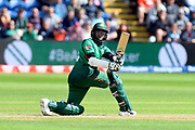 Shakib Al Hasan (vc) of Bangladesh plays an attacking shot during the ICC Cricket World Cup 2019 match between England and Bangladesh the Cardiff Wales Stadium at Sophia Gardens, Cardiff, Wales on 8 June 2019.