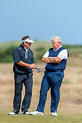 Brandt Jobe and Colin Montgomery wait to play during round 3 of the Seniors Open St Andrews, West Sands, Scotland on 28 July 2018. Picture by Malcolm Mackenzie.