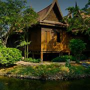 A typical old Thai style house at Muang Borang in Samut Prakarn, Thailand.