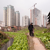CHONGQING, CHINA - JAN 30, 2011: A construction site right across a rural area in northern Chongqing. The suburbs of the city often offer contrasting views on the old and the new aspects of the city.