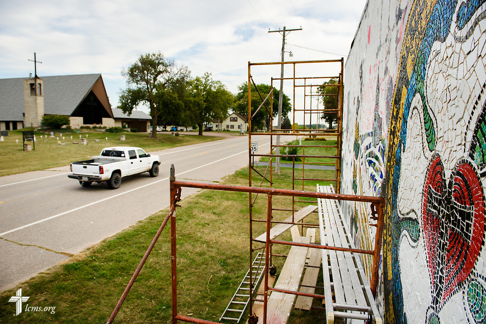 The mural project commemorating the 500th anniversary of the Lutheran Reformation on the building across from Zion Lutheran Church, Worms, Neb., on Saturday, Sept. 23, 2017. LCMS Communications/Erik M. Lunsford