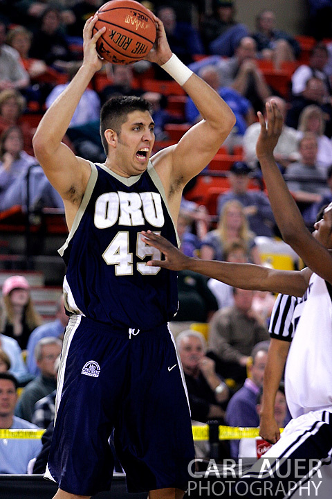 26 November 2005: ORU center, Mickey Michalec, in the Oral Roberts University 62-54 victory over Monmouth University in the Great Alaska Shootout in Anchorage, Alaska