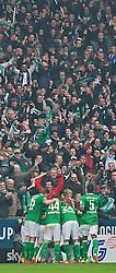 01.03.2014, Weserstadion, Bremen, GER, 1. FBL, SV Werder Bremen vs Hamburger SV, 23. Runde, im Bild Bremer Torjubel um Zlatko Junuzovic (Bremen #16) // Bremer Torjubel um Zlatko Junuzovic (Bremen #16) during the German Bundesliga 23th round match between SV Werder Bremen and Hamburger SV at the Weserstadion in Bremen, Germany on 2014/03/01. EXPA Pictures © 2014, PhotoCredit: EXPA/ Andreas Gumz<br /> <br /> *****ATTENTION - OUT of GER*****